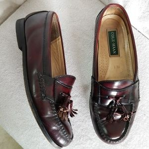 Cole Haan burgandy brown leather tassel loafers